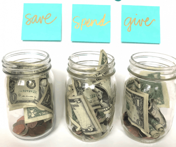 Save, spend, give jars